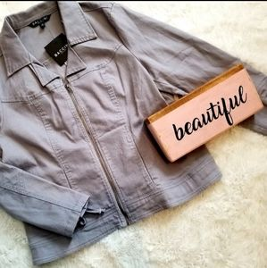 Womens |Gray Jean Style Zip up Jacket | Large